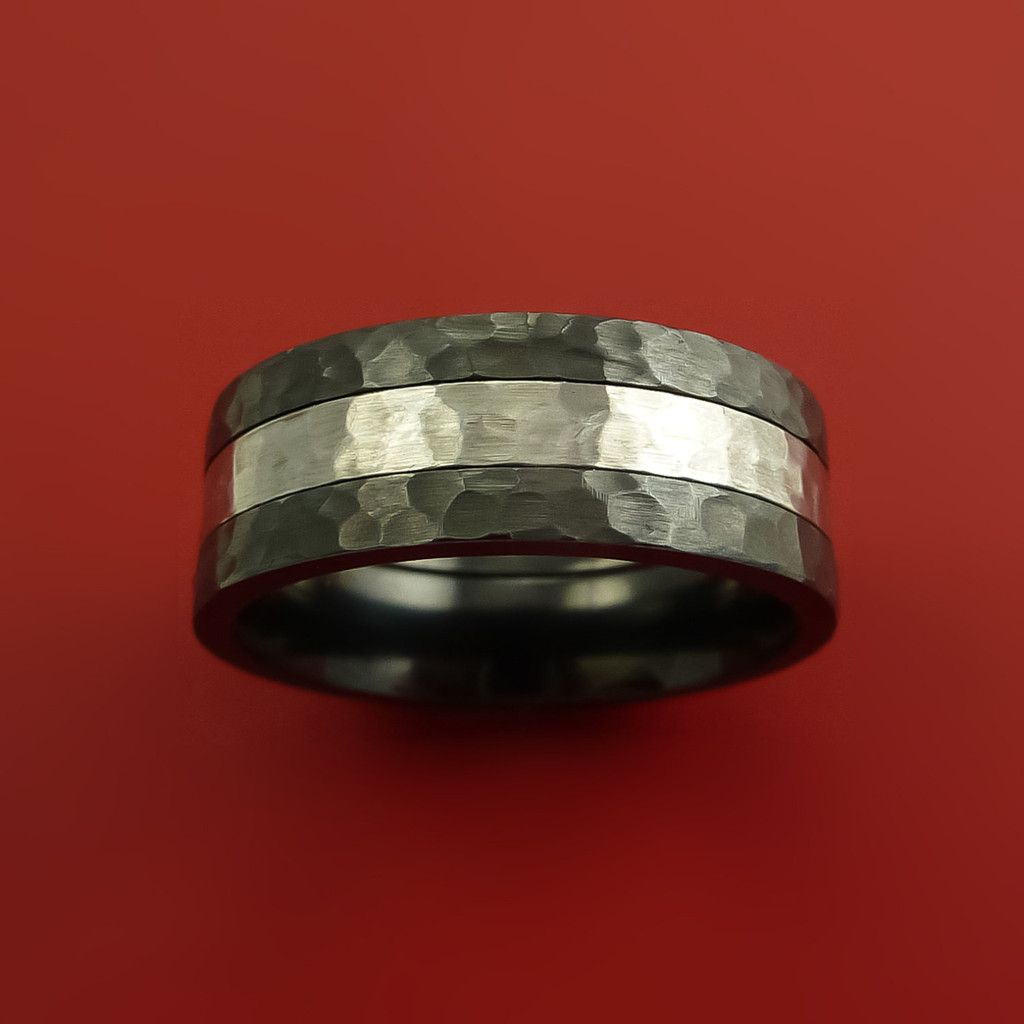 Black Zirconium Band Wide Cobalt Chrome Center Inlay Hammer Finish Ring Custom Made
