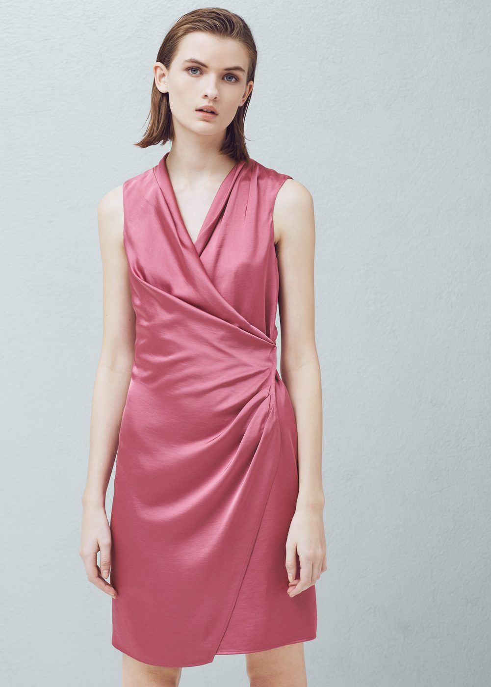 Wrapped satin dress - Woman | Pinterest | Vestidos de mujer, Cruzado ...