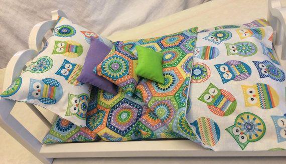 American Girl Doll Bedding 6 pc Owl doll by 2KrazyLadiesCrafts