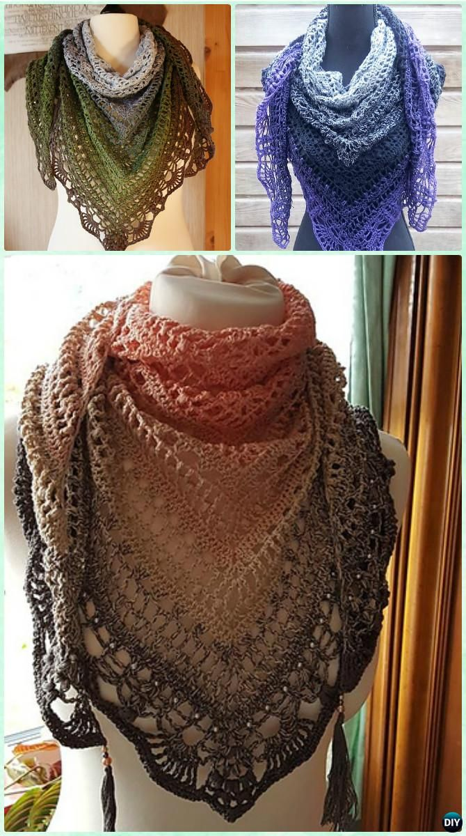 Crochet Popcorn Stitch Lace Triangle Shawl Free Pattern - #Crochet ...