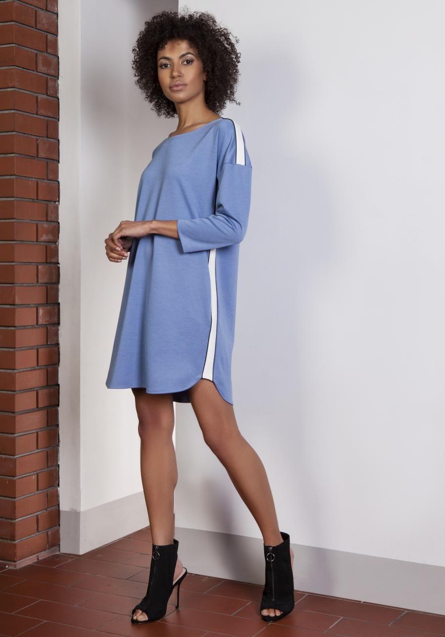 41d9863e27 Sukienka Sportowa z Lampasami Niebieska LSUK150 w 2019