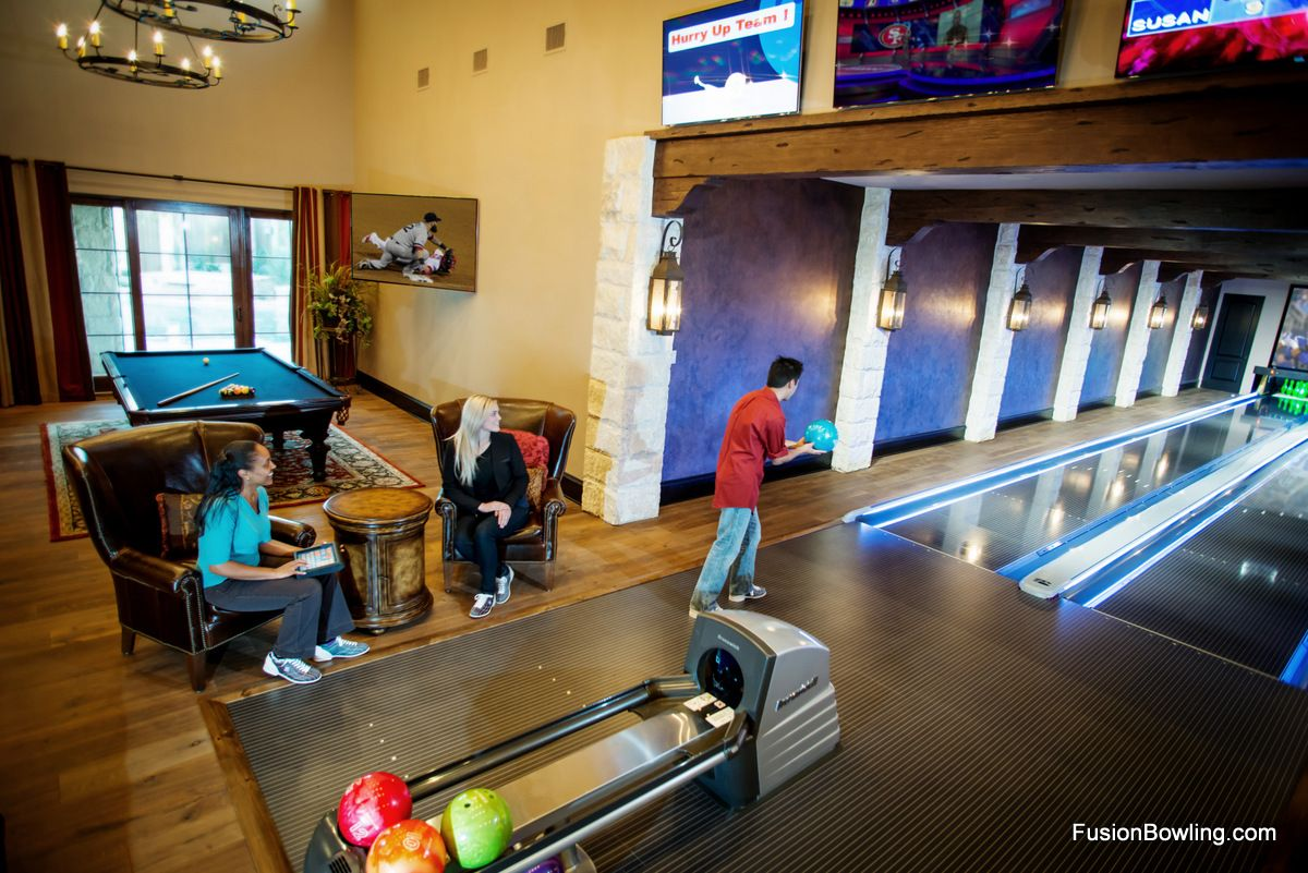 Seating Next To Home Bowling Alley Lanes Home Bowling Alley Game Room Basement Game Room