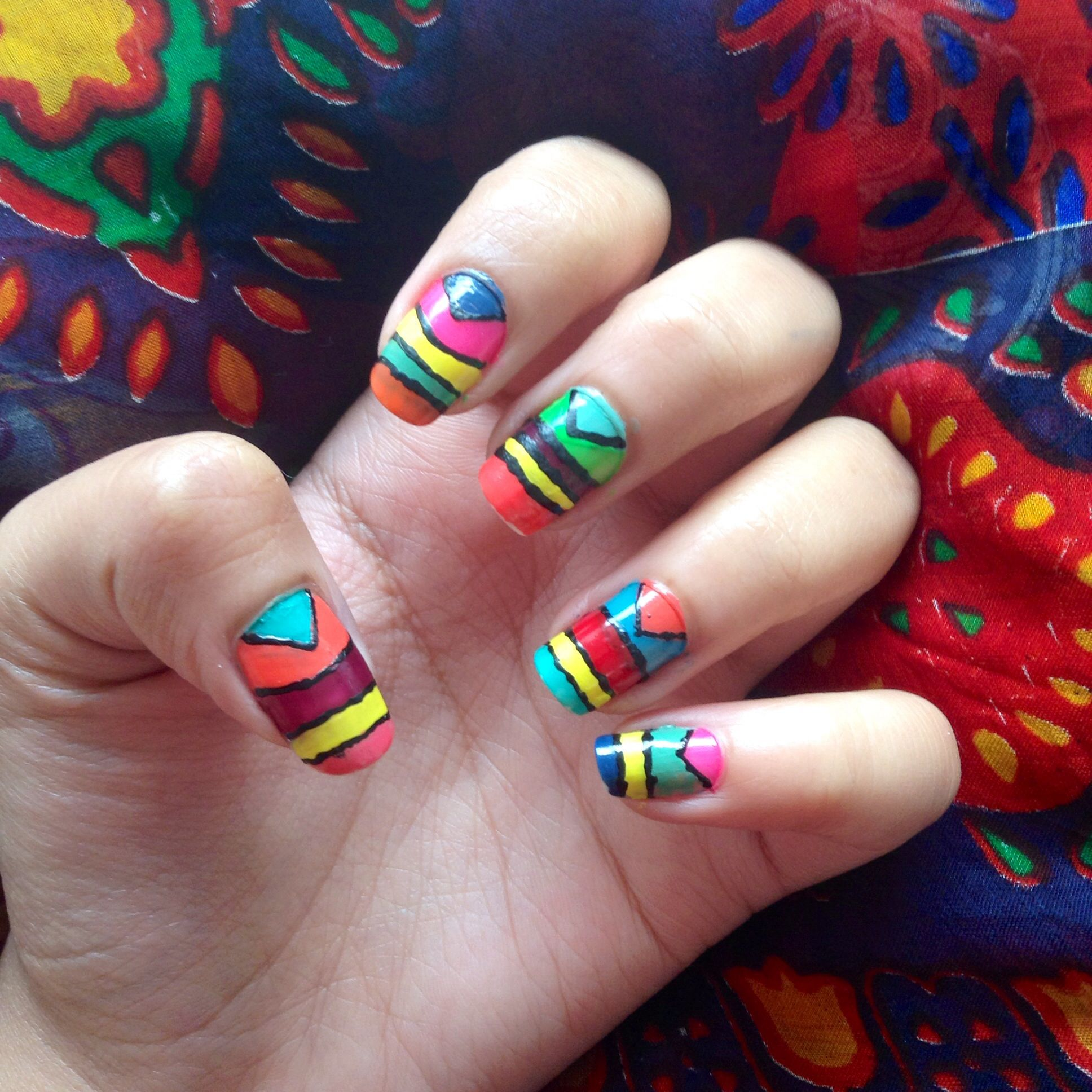 colours! DIY easy nail design..colourful bright match with your ...