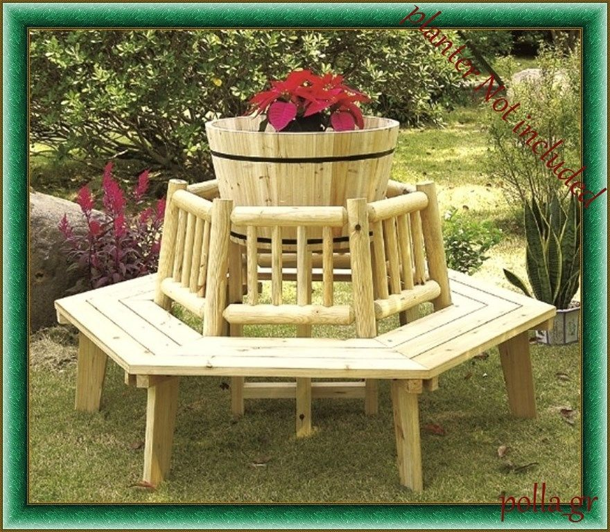 Garden Wooden Tree Seat Up To 6 Outdoor Bench Furniture Patio Yard