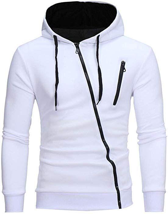 Riou Herren Langarm Hoodie Sweatshirt Slim fit Sweatjacke