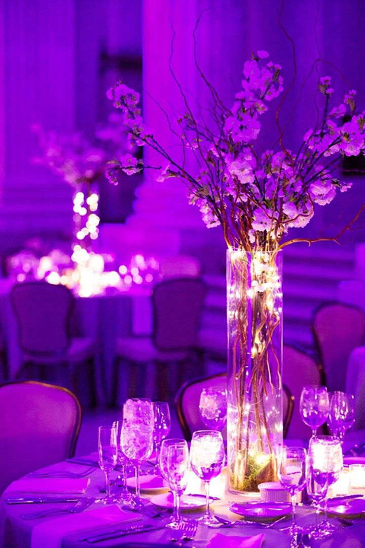 Vase Centerpiece Lights : Fairy light filled bell jars as wedding decor tall