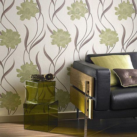 Superfresco Green Cream Poppy Wallpaper At Debenhams Com