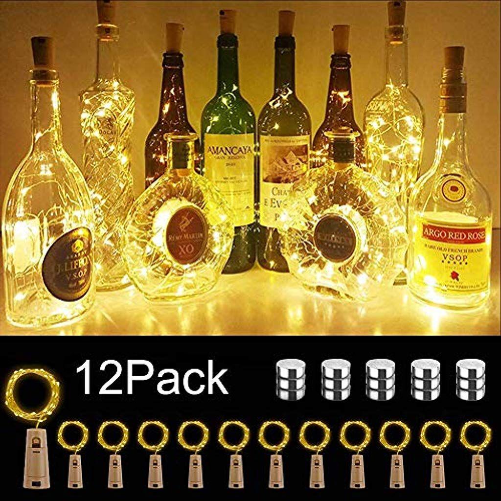16 St/ück Flaschen-Licht JRing 20 LEDs 2M Flaschenlicht Warmwei/ß Lichterkette korken Stimmungslichter Weinflasche Nacht Licht f/ür Flasche DIY Weihnachten Halloween Garten Hochzeit Deko Party