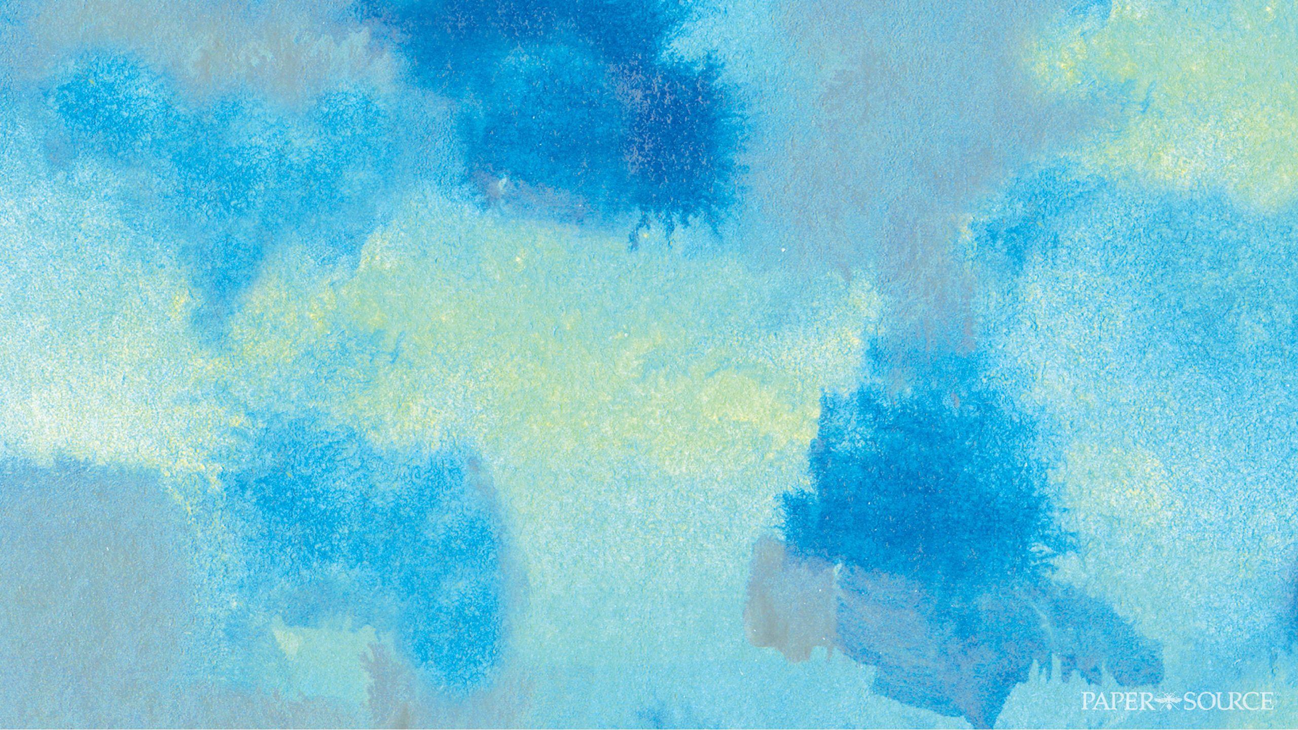Blue Watercolour Smudge Blot Desktop Wallpaper Background Blue