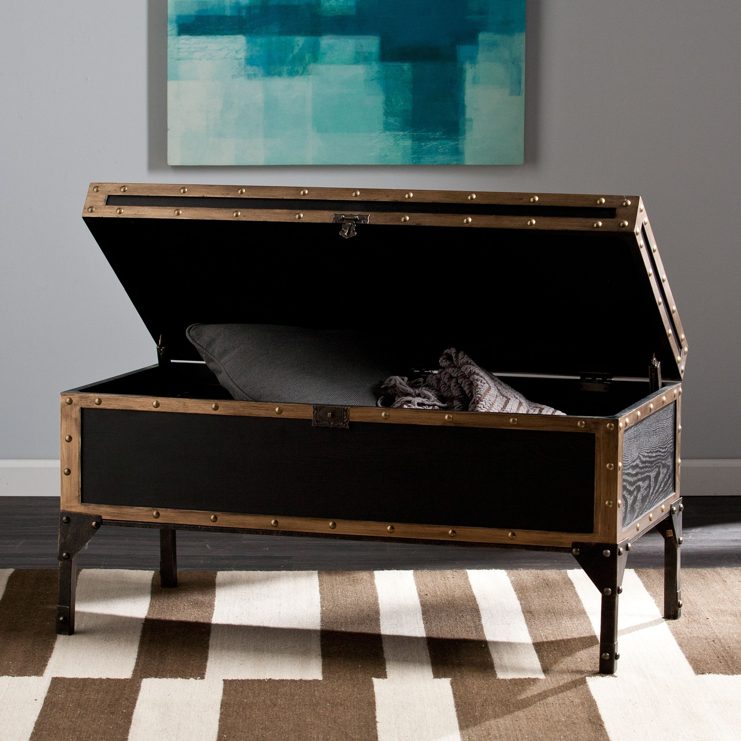 This Upton Home Travel Trunk Cocktail Table Features An