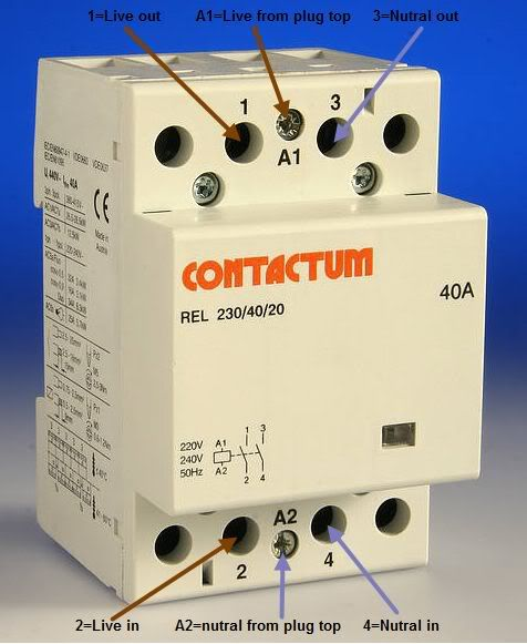 how to wire contactor block delay timer/ http://waterheatertimer, Wiring diagram