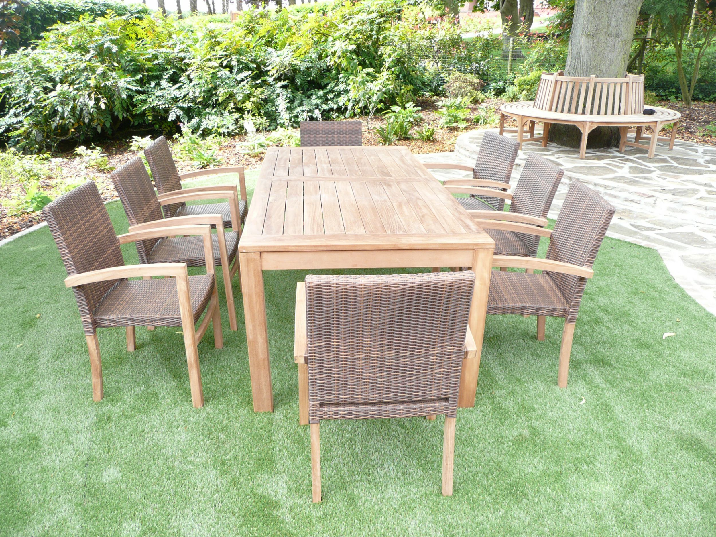cannes 8 seater teak rattan garden furniture set humber imports - Garden Furniture 8 Seater