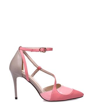 8f4ad3fdb4c6 Pink   beige leather cross strap heels Sale - Jady Rose Sale