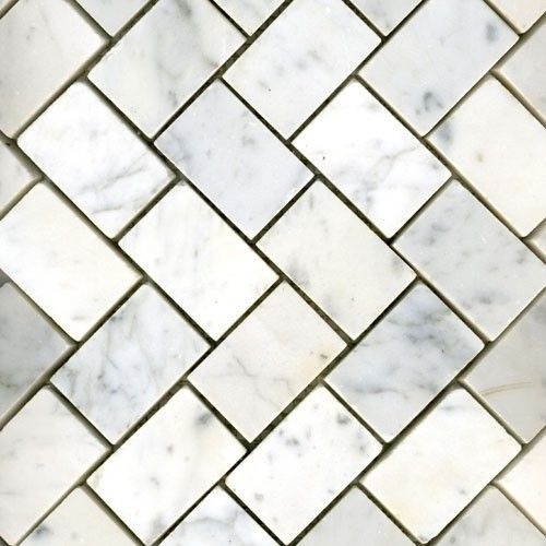 White Marble Herringbone Honed: Sub. Grecian White 3x6