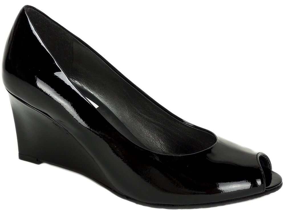 1b61116e1f7 Stuart Weitzman Women s Nuanna Peep-Toe Wedge Pumps Black Patent LE Size 6 M   StuartWeitzman  OpenToe  Dress