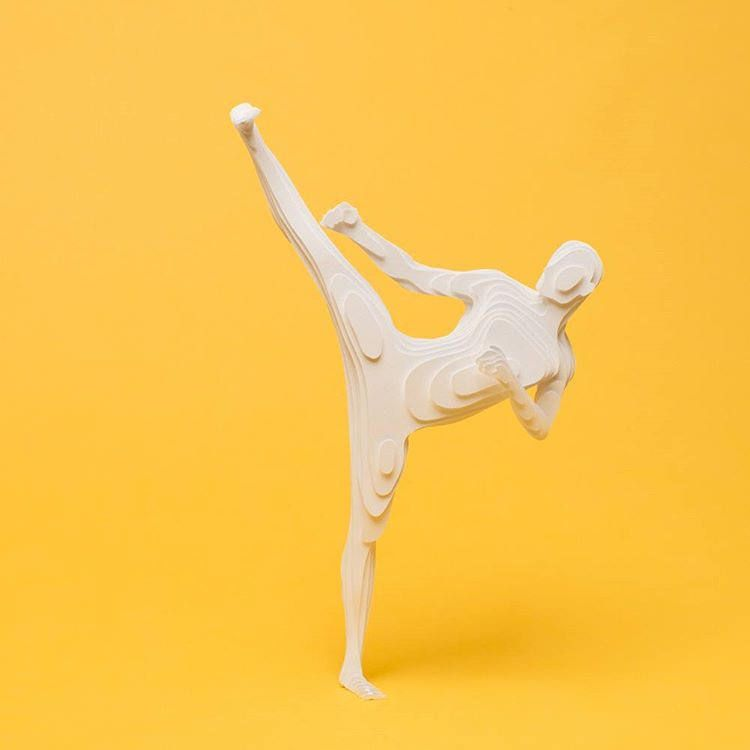 https://flic.kr/p/FQfJKg | Paper Sculpture Karate Figure by Raya Sader Bujana | Blogged: www.allthingspaper.net/2016/03/serial-plane-cut-paper-oly...  Photo by Leo García Méndez.