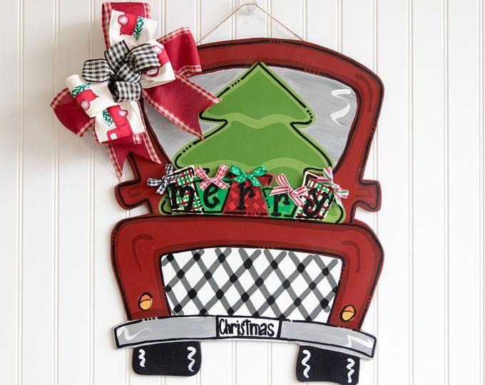 Photo of Christmas door hanger, vintage truck door hanger, wooden door hanger, Santa door hanger, snowman door hanger, Christmas truck, reindeer door