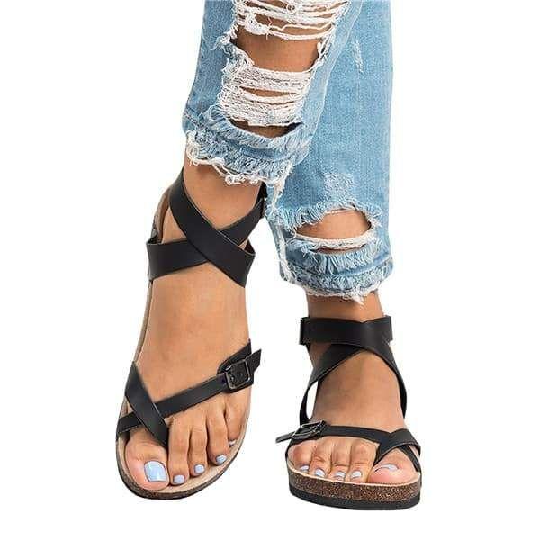 e39275edae64 Chellysun Roman Sandals Buckle Peep-toe Flat Shoes - Black   7