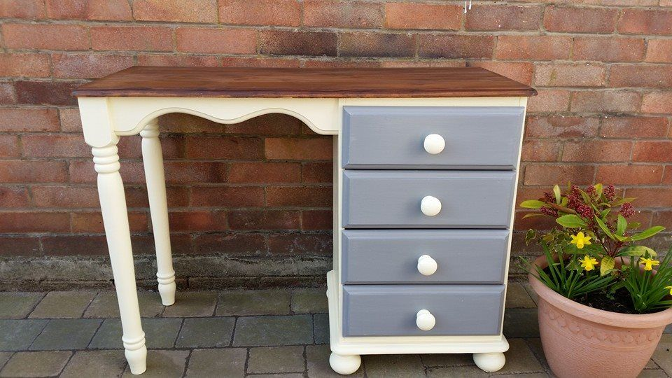 Pine desk painted in Adam cream eggshell and grey drawers with a Jacobean Oak stained top
