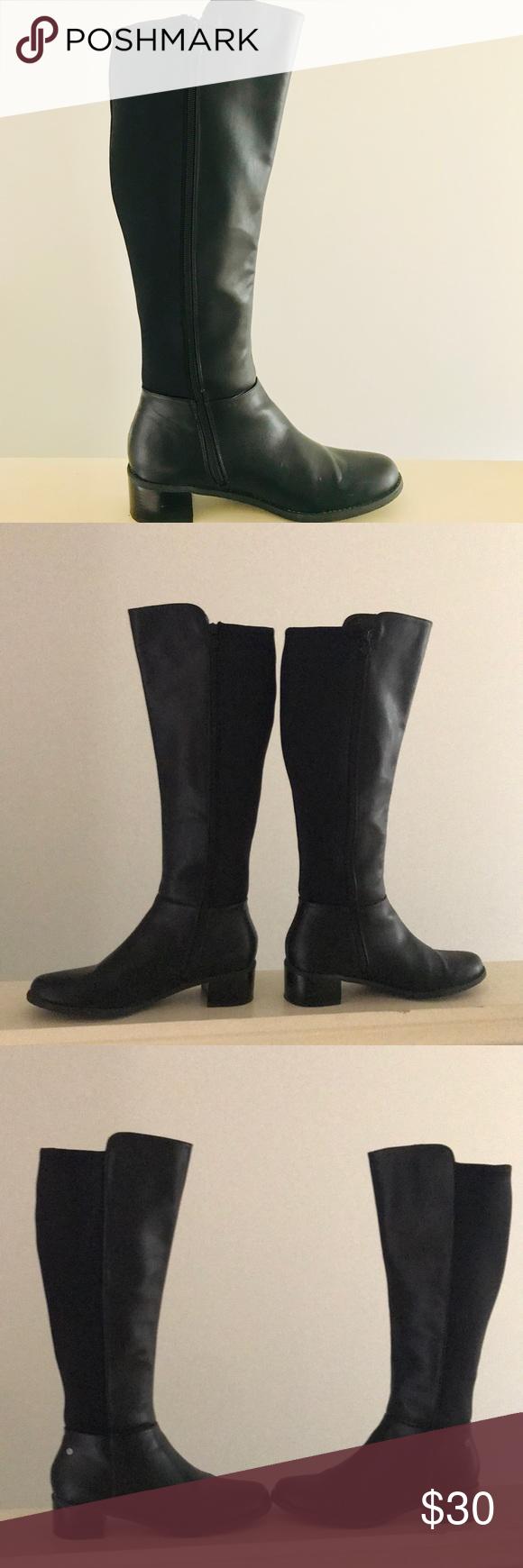 b10e8fe54d0a Dana Buchman Tall Black Zip Heeled Boots 9.5 M EUC Same or Next Day  Shipping Bundle