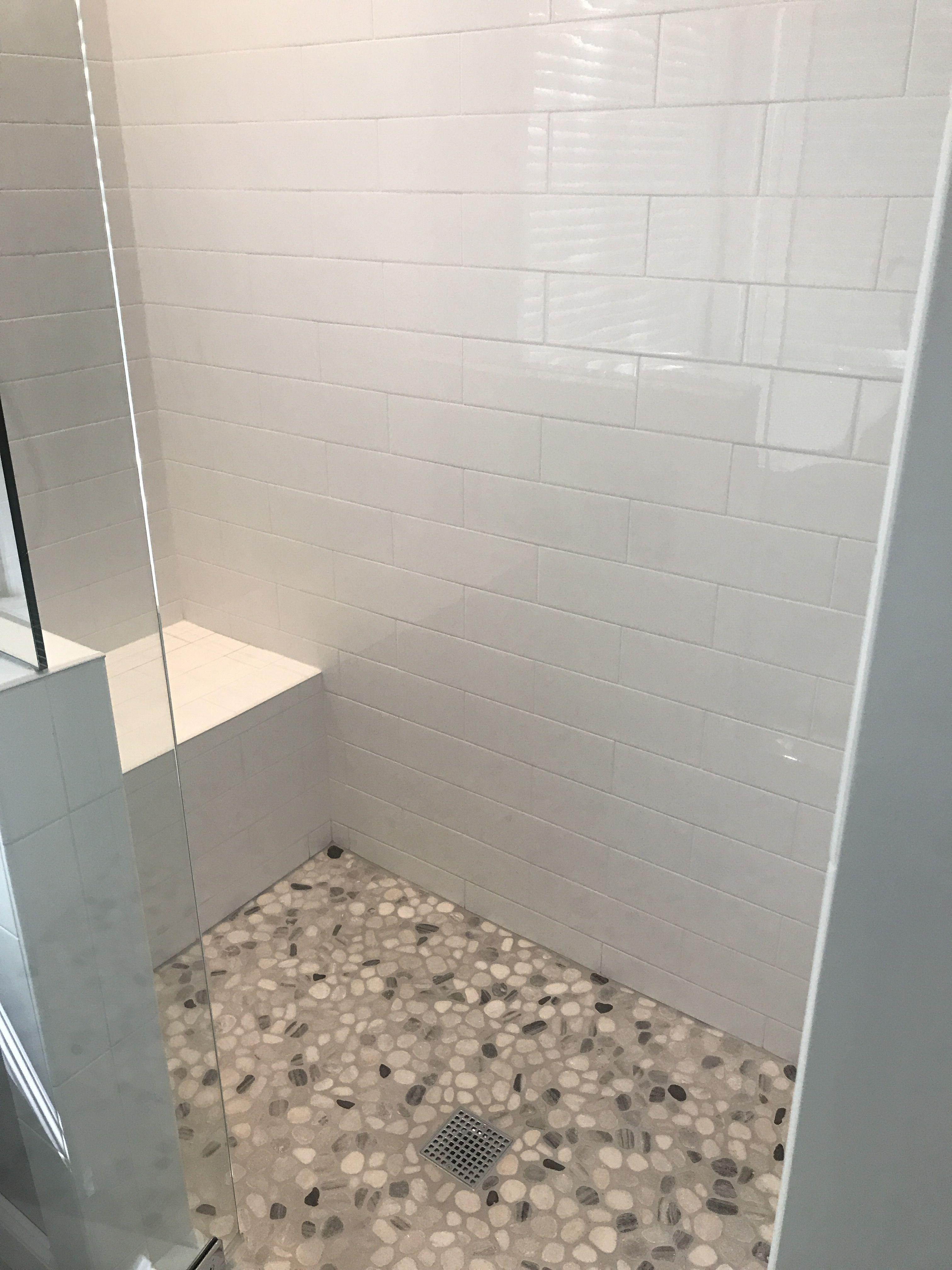 White Shower With Pebble Floor Google Search White Subway Tile Bathroom Pebble Shower Floor Stone Floor Bathroom
