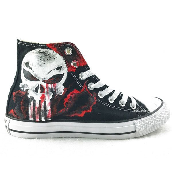 7768365ee Unique Canvas Shoes The Punisher Skull Hand Painted Mens Black H ...