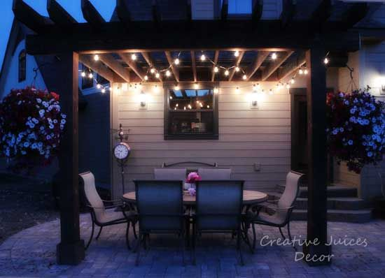 Hanging String Lights On A Pergola : Getting Ready for Summer - Adding Patio lights to an outdoor patio or pergola - Best price and ...