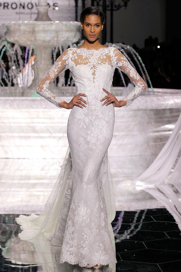 Atelier pronovias spring long sleeve lace wedding dress