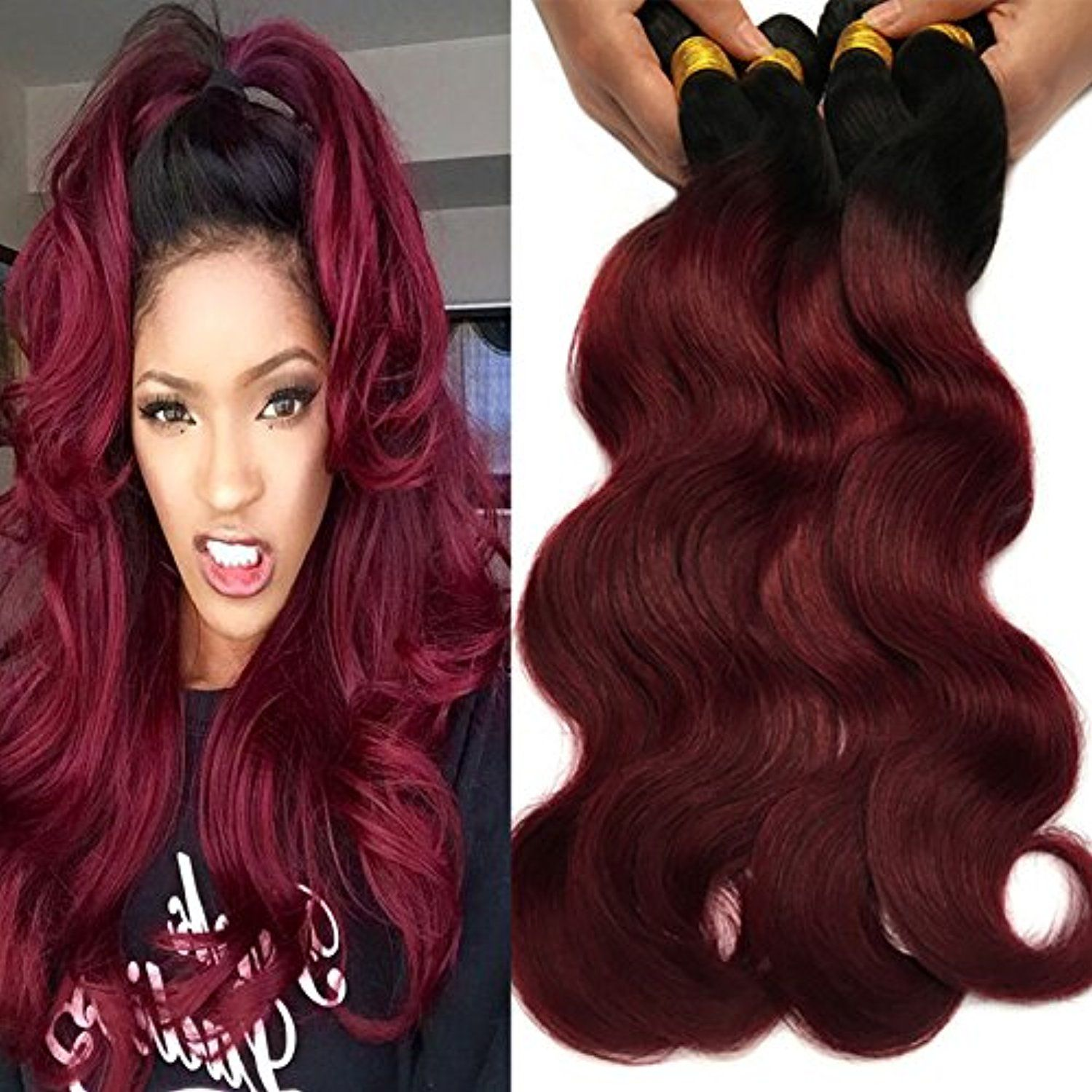 Black Rose Hair Body Wave Brazilian Ombre Human Virgin Remy Hair