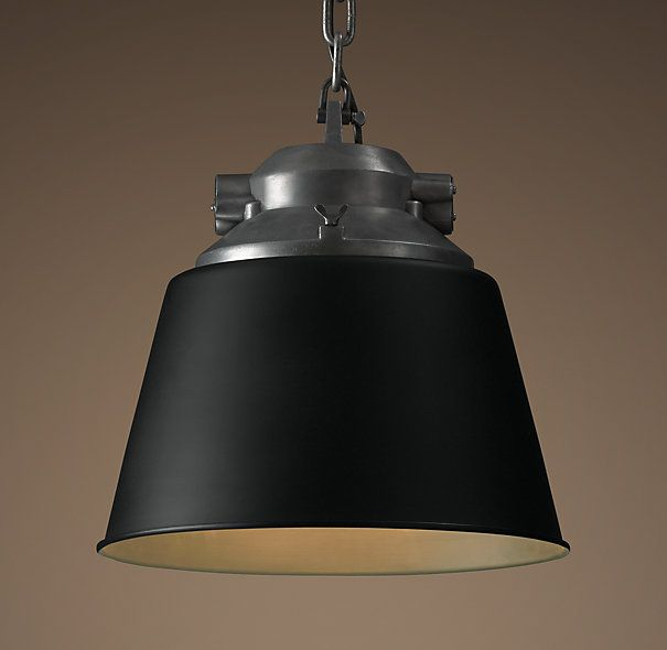 European Factory Cone Pendant Black