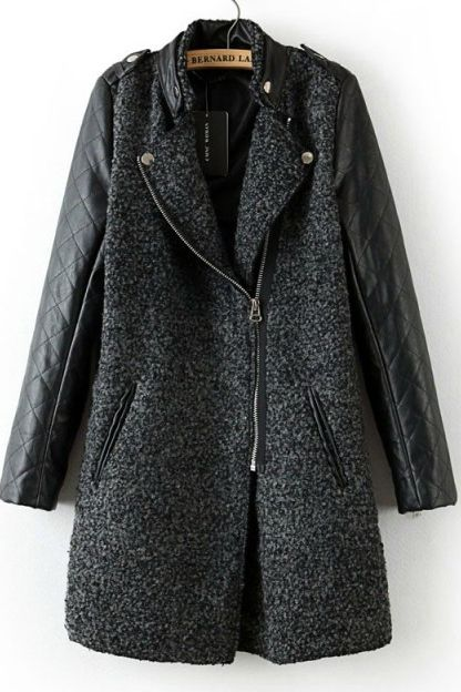 Grey Contrast Leather Quilted Sleeve Zipper Coat EUR€37.75