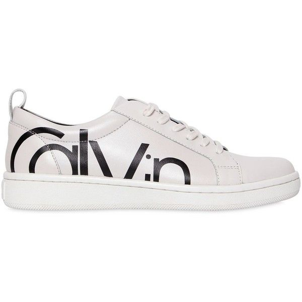 Calvin Klein Jeans Women 20mm Danya Leather Sneakers (£115) ❤ liked on Polyvore featuring shoes, sneakers, real leather shoes, leather trainers, leather sneakers, leather footwear and genuine leather shoes