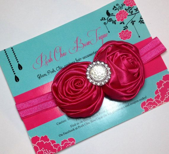 Rolled Satin Roses on a Sheen Stretch Hairband by PoshChicBowTique