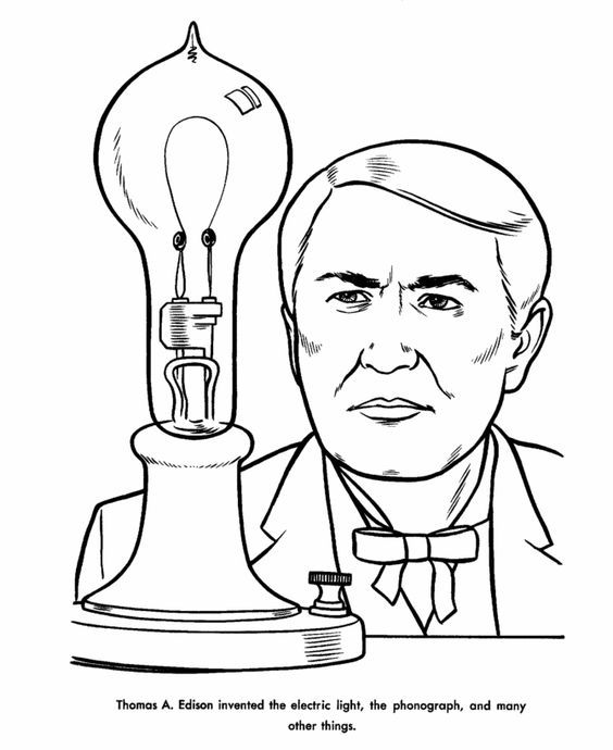 Thomas Edison Coloring Page Us History Coloring Pages Boyama