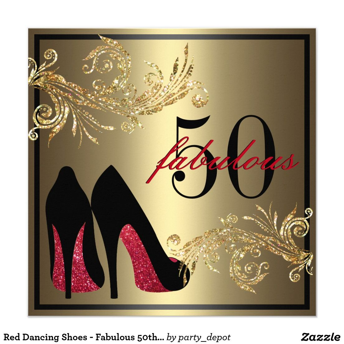 Red Dancing Shoes Fabulous 50th Birthday Card Adult Birthday