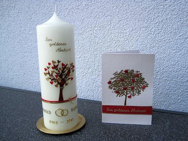 Kerze Zur Goldhochzeit Mit Passender Karte