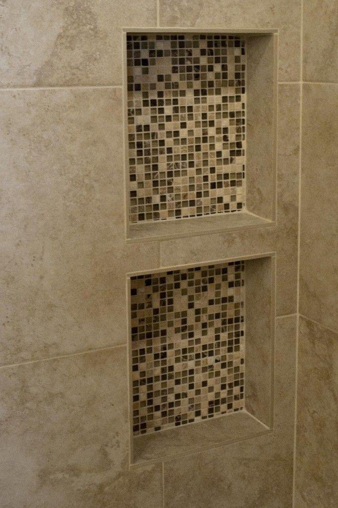 Marvelous Built In Shelves Idea For Shower Space