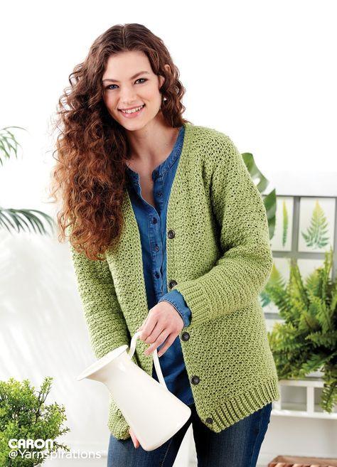 Adult Crochet V Neck Cardigan Pattern Yarnspirations Free