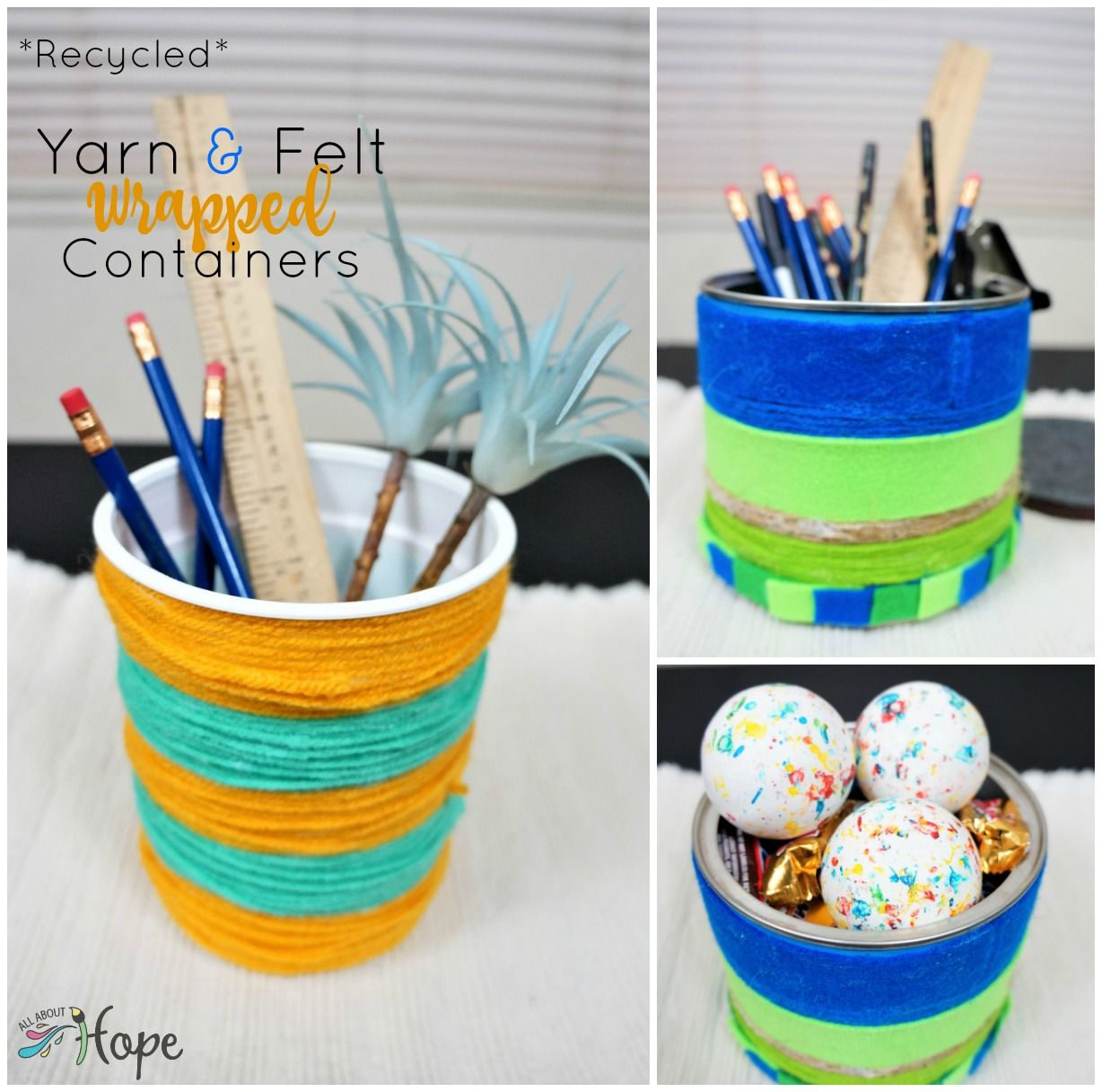 Yarn And Felt Wrapped Containers
