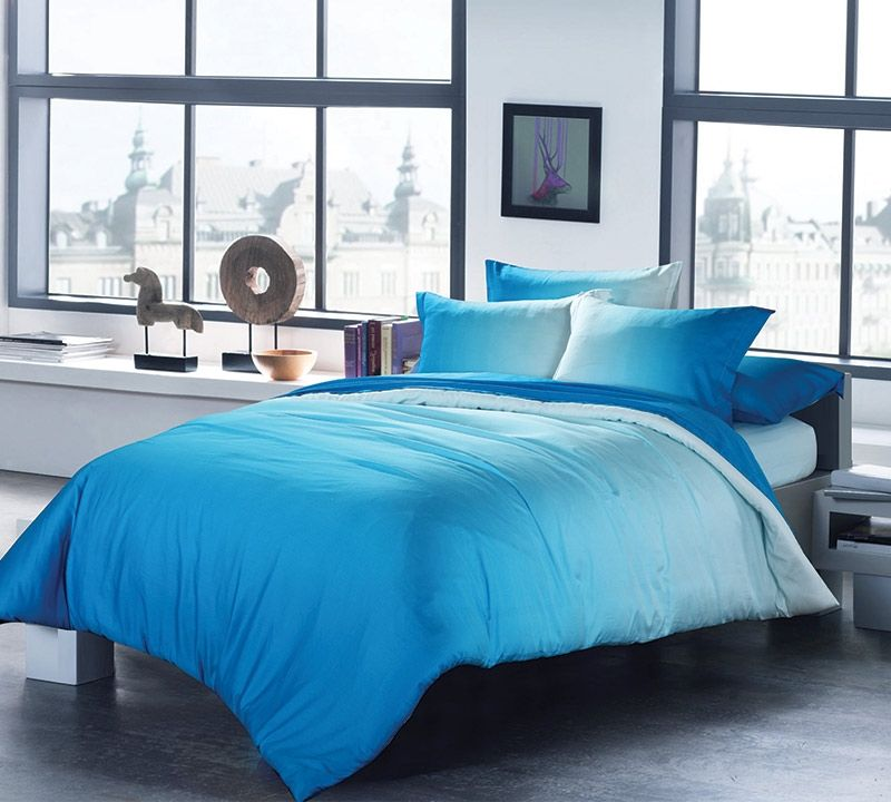 Ombre Aqua Queen Comforter With Invisible Tacking Oversized