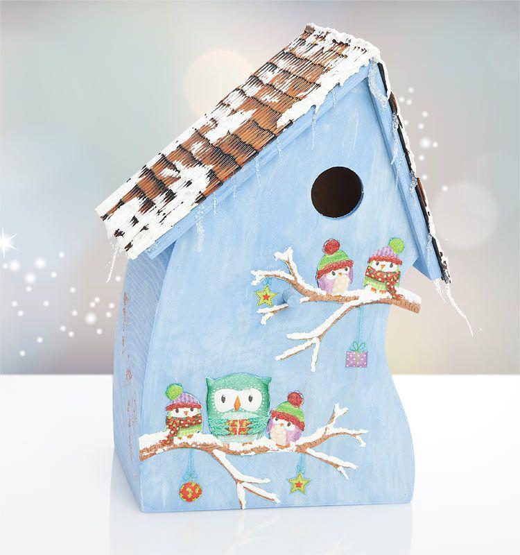 winterliches vogelhaus mit eulen in 3d optik http www. Black Bedroom Furniture Sets. Home Design Ideas