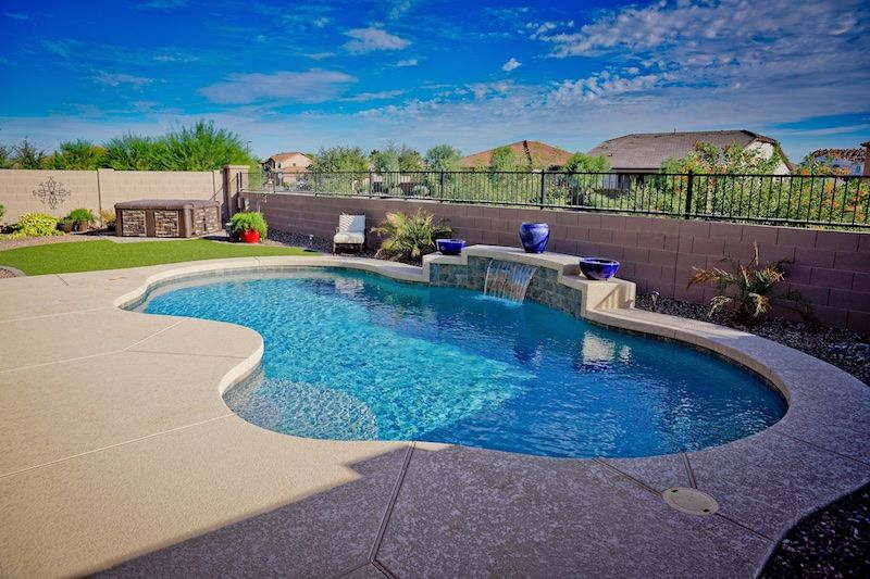 Caribbean Pools In Az Swimming Pool Patio Waterfall Deck Outdoor Living Concrete Swimming Pool Quotes Home Remodel Buddy Pool Swimming Pools Pool Cost