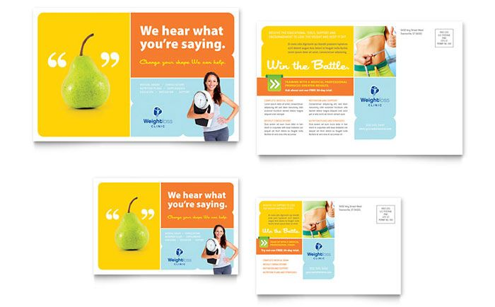 Weight Loss Clinic Postcard Design Template by StockLayouts - postcard format template