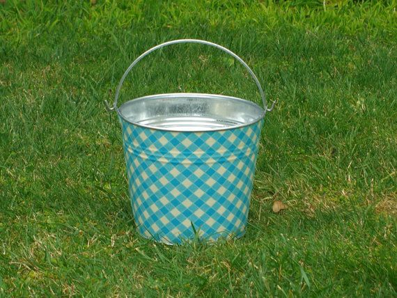 Aqua Blue and White White Picnic Gingham Fabric Covered Galvanized Pail