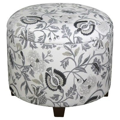 Fabulous Trappe Medium Round Ottoman With Storage Grey Floral Inzonedesignstudio Interior Chair Design Inzonedesignstudiocom