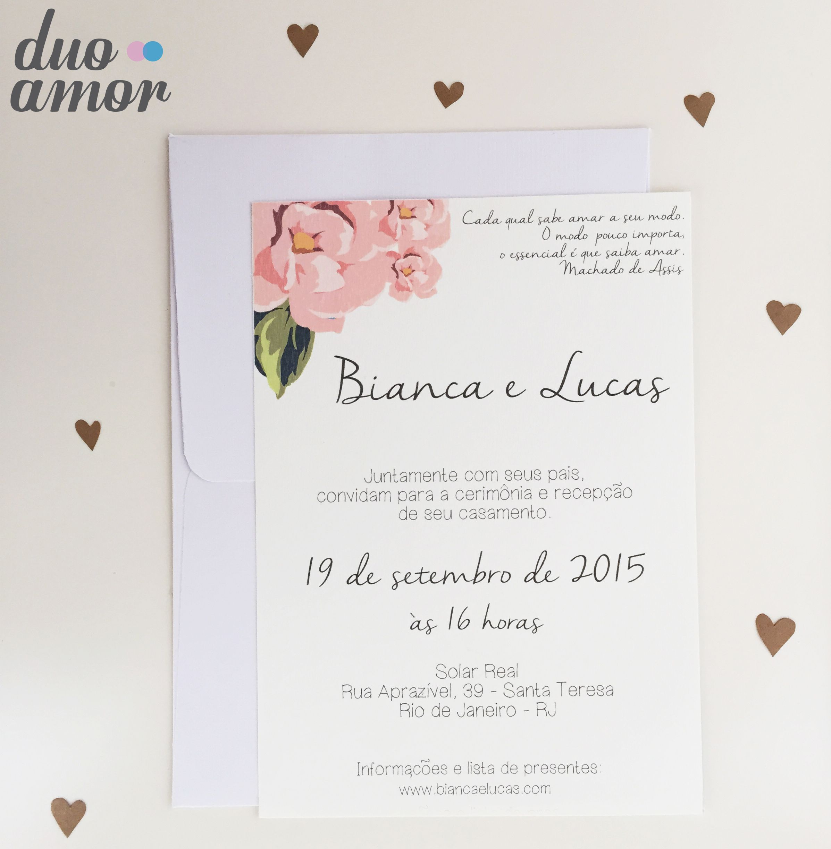 convite casamento moderno; convite simples; convite floral ...