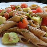 Simple. Delicious. #Vegan. A tomato and avocado pasta #recipe for the vegan on the go!