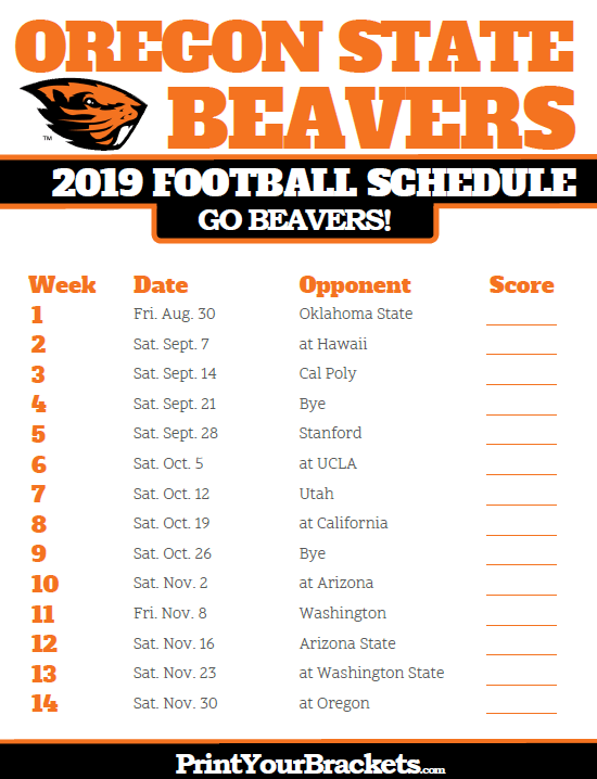 Oklahoma State 2019 Football Schedule 2019 Oregon State Beavers Football Schedule | Printable College