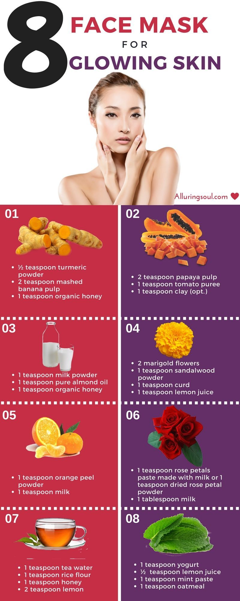 Homemade Face Pack For Glowing Skin Get Glowing Skin By Applying Banana Turmeric Rose Petal Sandalwood Homemade Face Pack Glowing Skin Face Mask Skin Care