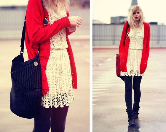 the lace dress and boots i love... but its really the bright red ...